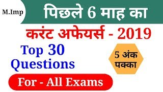 Last 6 Month Current Affairs 2019//Top 30 Current Affairs Questions