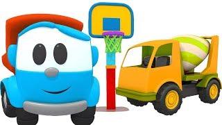 Leo Lastwagen baut einen Zementmischer. Zeichentrickfilm mit Autos.