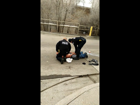 Police officer struggling with arrest is helped by citizen