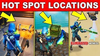 Search Chest At A HOT SPOT, Search Ammo Boxes At A HOT SPOT, Elimination At A HOT SPOT Fortnite