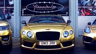 Bentley GTC wrapped Chrome Gold for UK's Gold Car Man