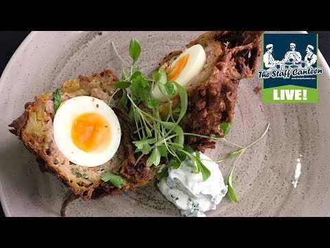 Chef Dan Doherty from Duck and Waffle, cooks a Scotch Bhaji recipe
