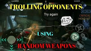 Shadow fight 3 TROLLING opponents using Random Weapons