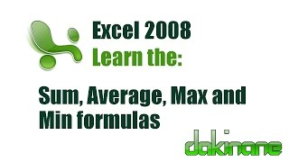 Excel - Using Formulas Tutorial 1