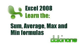Excel - Using Formulas Tutorial 1