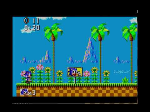 Sonic the Hedgehog SMS Green Hill Zone Act 1 Sonic Panel in 20 seconds