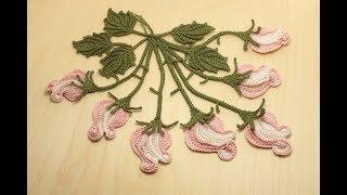 БУТОН РОЗЫ СТЕБЕЛЁК вязание крючком МК Tutorial: how to crochet a rose