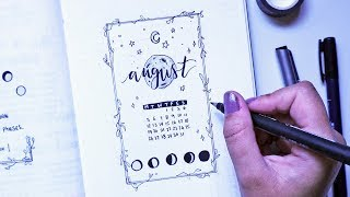 August 2019 Bullet Journal Plan With Me | lunar theme
