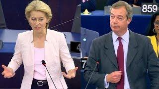 Farage and von der Leyen clash at nomination vote