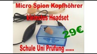 Mini Spion Kopfhörer für Prüfungen kleinstes Micor Headset Uni, Schule spicken