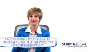 Procès-verbal de l'assemblée générale annuelle du syndicat des copropriétaires