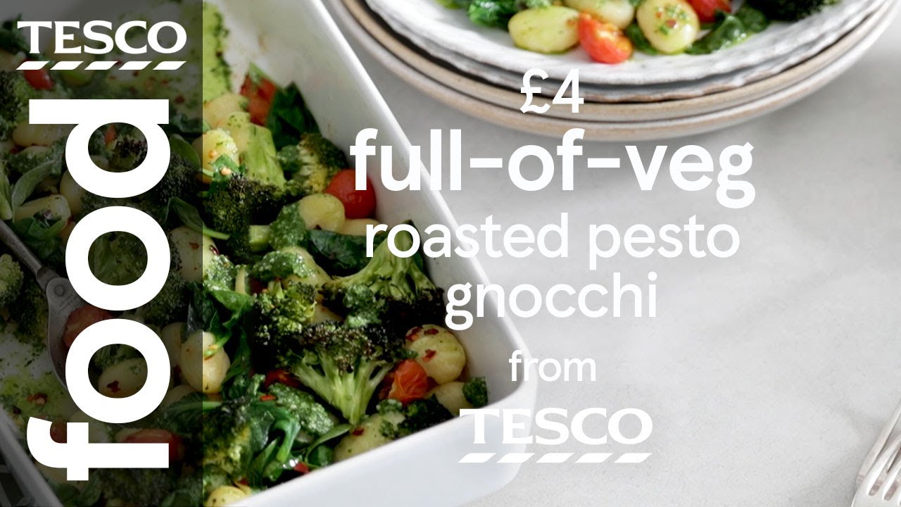 Roasted veg and gnocchi with pesto