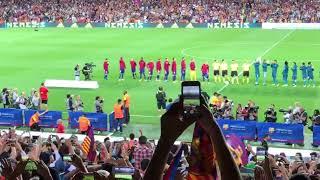 Барселона ва Реал Мадрид ўйинчиларининг майдонга чиқиши АДМИН кўзи билан