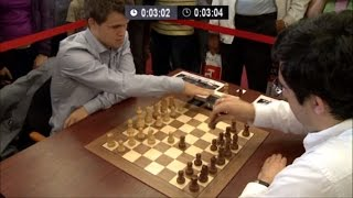 GM Magnus Carlsen vs GM Vladimir Kramnik 🔥 Chess Blitz Tal Memorial 2013 Round 2 ☆