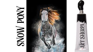 Easy Painting In Acrylic Horse Running In The Snow Live Streaming | TheArtSherpa