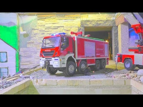 FIRE ON THE CONSTRUCTION! BROKEN GAS PIPE! FANTASTIC RC FIRE TRUCK ACTION! COOL RC FIRE TRUCKS !