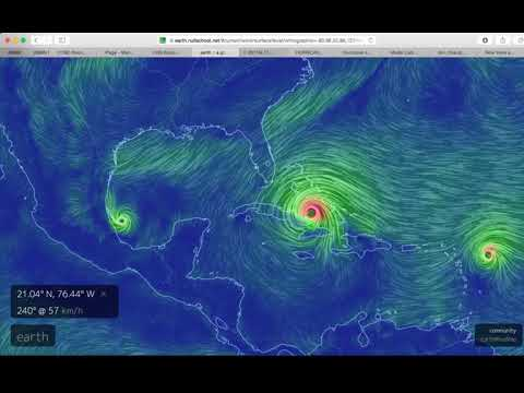 Live Earth Wind Map.Current Path Trajectory Points Hurricane Irma Jose Category 5