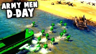INVASION Of NORMANDY! Green Toy Soldiers D-DAY! (Army Men of War Gameplay)
