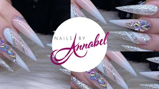 French Ombré    Colour Blocking   Ice Christmas Acrylic Nails Design Using All Glitterbels
