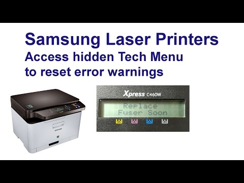 Samsung Xpress C460W hidden menus & reset those warnings