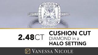 CUSHION CUT DIAMOND RING | 2.50 Carat Cushion Cut Halo Diamond Ring For Karen