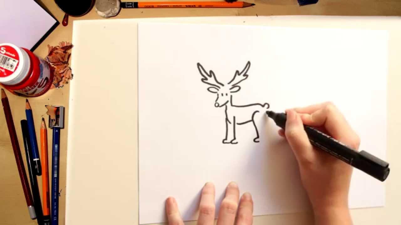 Cómo dibujar un reno - dibujos de Navidad para niños