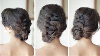 Inverted Braid Updo Hairstyle Is Best Of All Bun For Medium Hair - Self Making Process