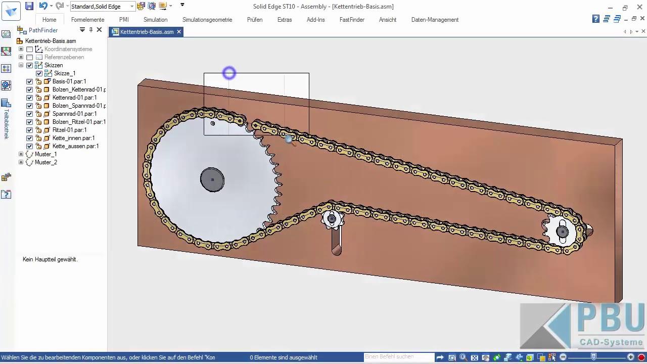 Vorschaubild: Solid Edge Tutorial: Positionieren der Glieder eines Kettentriebes