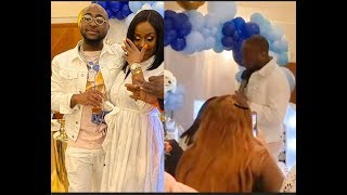Touching! Watch Davido praying for his son As His Wife Burst Into Tears At naming ceremony