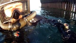 DA Aqualung Vintage Scuba dive in Lake Superior in Marquette MI