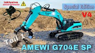 Amewi Vollmetall Bagger G704E SE Petrol | SPECIAL EDITION | mit elektronischen Schnellwechsler