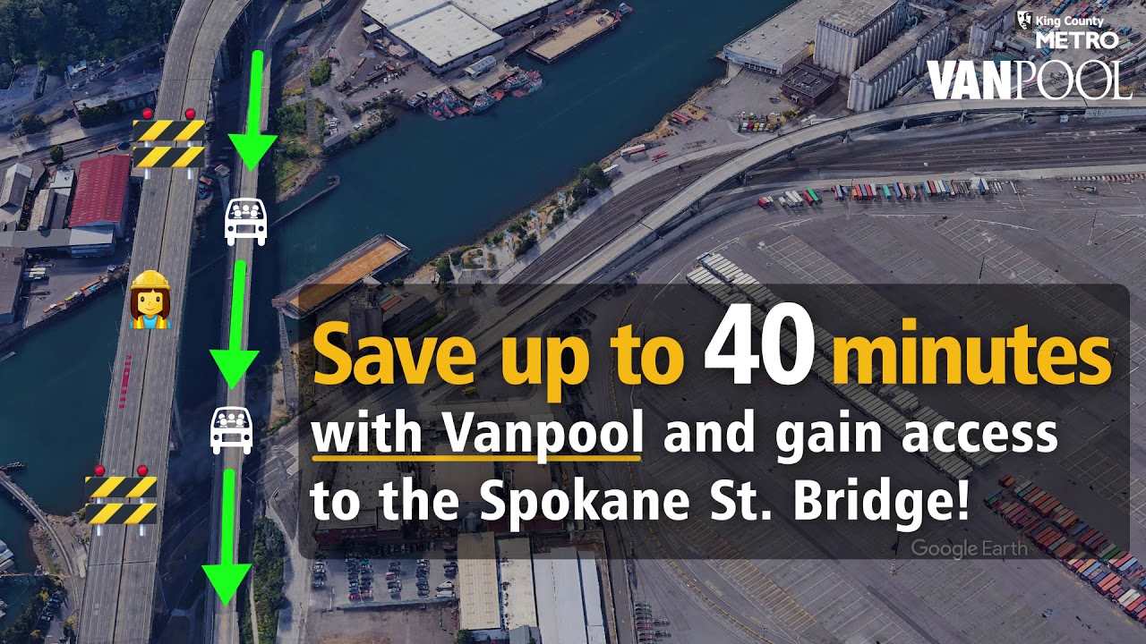 Save up to 40 minutes with Vanpool and access to the Spokane St. Bridge.