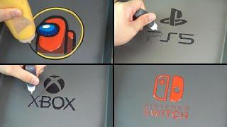 Game Logo Pancake Art - Among us, Ps5, Xbox series x, Nintendo switch