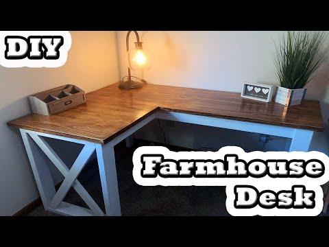 DIY   L-Shaped Farmhouse Desk!