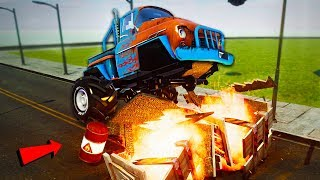 Monster Truck vs Explosive Barrels - Wrecked
