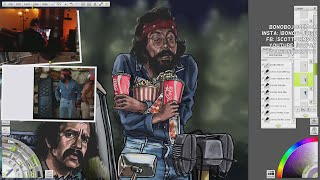 Cheech & Chong Art - Pedro and Man at The Drive-Inn