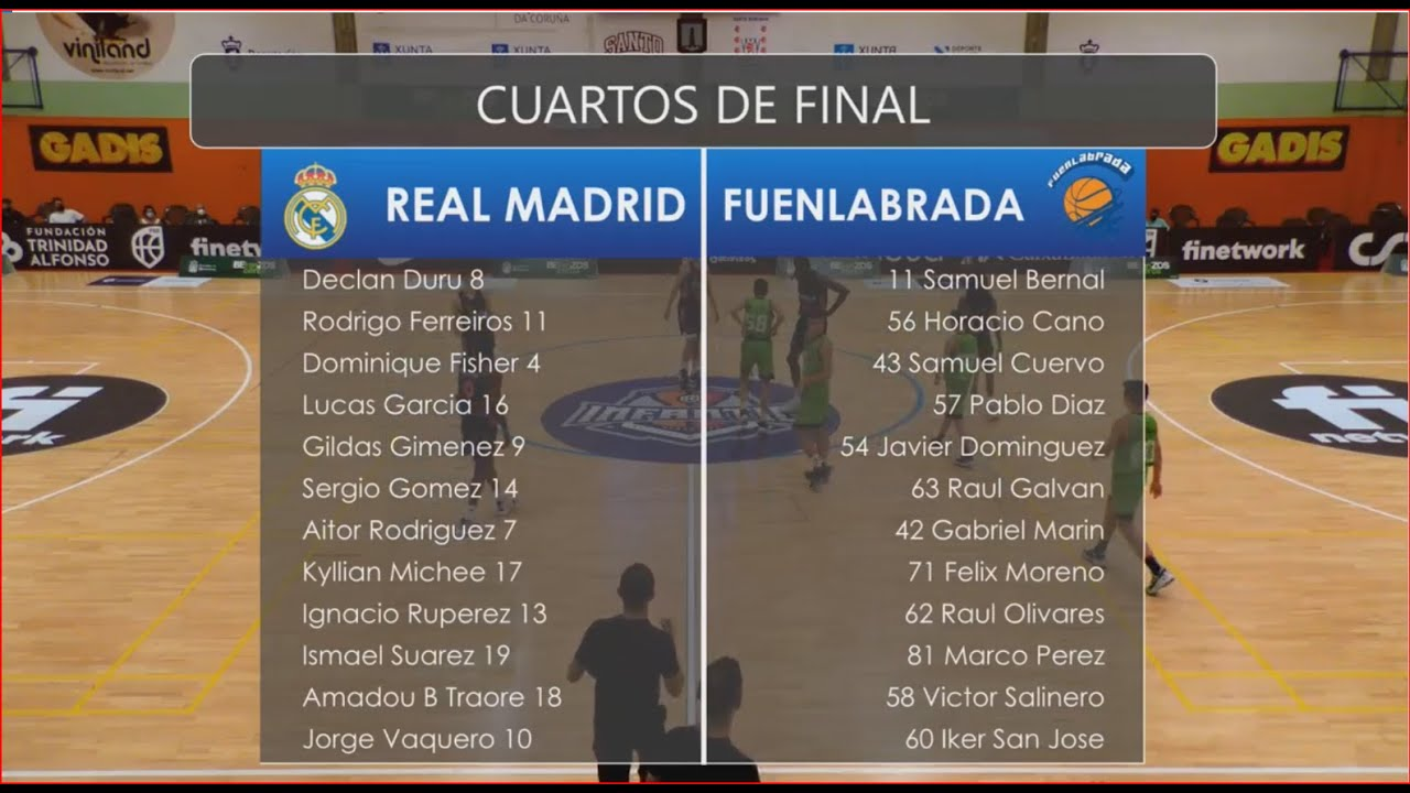 U14M-Cpto.España: REAL MADRID vs FUENLABRADA.- 4ºs. final. Cpto. Infantil Masc. FEB-Betanzos 2021