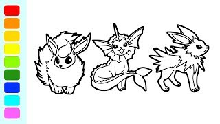 Pokemon Coloring Pages Flareon Vapareon And Jolteon I Speed Coloring Videos For Kids
