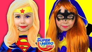 Kids Makeup Super Hero Girls Alisa Pretend Play with Dolls & DRESS UP Kids Funny Videos Collection