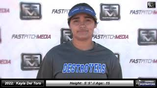 2022 Kayla Del Toro Middle Infield Softball Skills Video - California Destroyers
