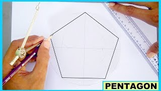 how to draw pentagon without using protractor