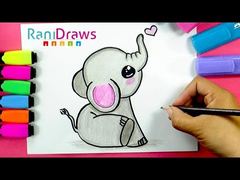 How to draw A CUTE BABY ELEPHANT - Cómo dibujar UN ELEFANTE BEBÉ KAWAII