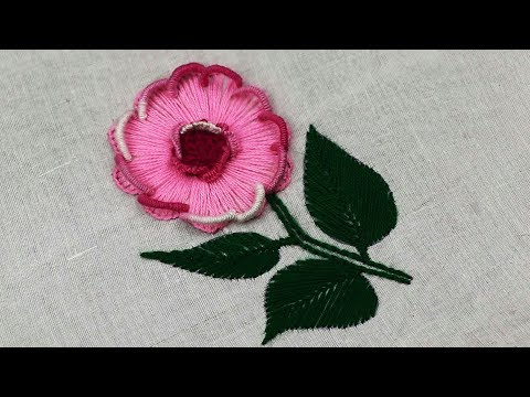 New hand embroidery fantasy flower design with buttonhole stitch and Brazilian Embroidery Stitches