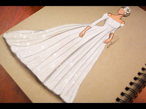 bc9e987cb رسم وتصميم فستان زفاف   تعليم رسم ازياء - رسم فستان عروس - mustafa saadi