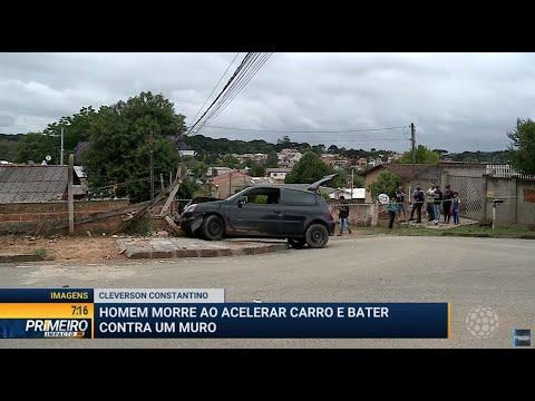 Homem morre ao acelerar carro e bater contra muro - Primeiro Impacto PR (15/11/19)