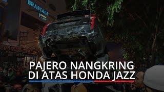 Tabrakan Beruntun di Ringroad Medan Libatkan Empat Kendaraan, Pajero Nangkring di Atas Honda Jazz