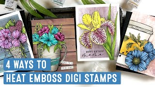 Heat Emboss Digital Stamps 4 Ways | WOW! Embossing Powder & Graciellie Design Collab
