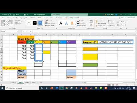 EXCEL MEAN AND STANDARD DEVIATION WITH ASSUMED MEAN
