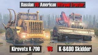 Spintires Mudrunner K-700 vs K-8400 Skidder | Bob vs Uncle Sam