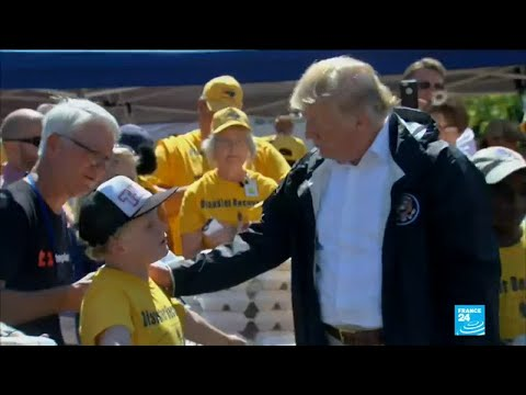 US President Donald Trump visits Carolinas to see the damage caused by hurricane Florence